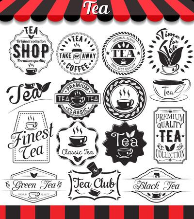 taza de te: Conjunto de dise�o retro vintage elementos de t�, marcos, etiquetas de la vendimia y de insignias