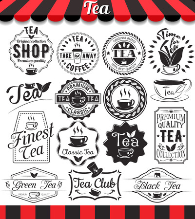 cups silhouette: Set of vintage retro tea elements design, frames, vintage labels and badges