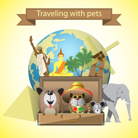 landmark: Travel pets. Vector illustration with pets and world landmarks background