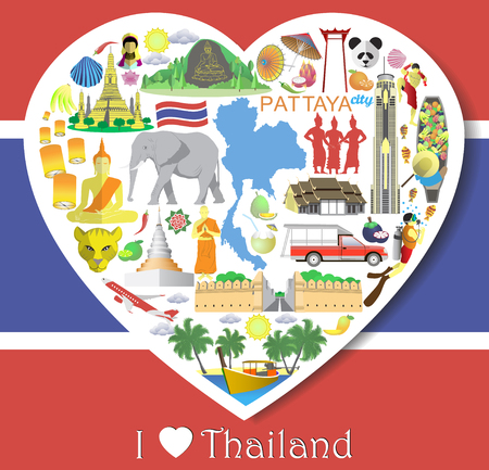 floating market: Thailand love. Set vector thai icons and symbols in form of heart