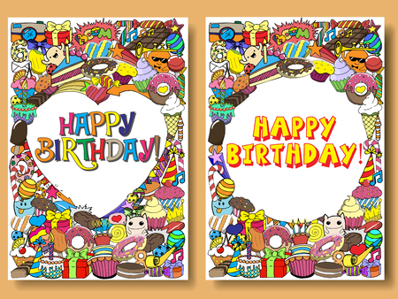 Greeting Cards Birthday Party With Sweets Doodles Vector Hand