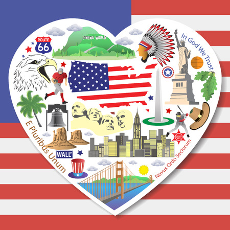 USA Love. Set american icons and symbols in form of heart Illustration