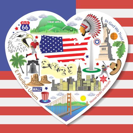 aigle royal: USA Amour. D�finir des ic�nes et symboles am�ricains en forme de coeur