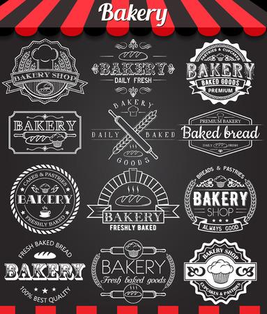 logo de comida: Conjunto de divisas logo panadería retro vintage y etiquetas