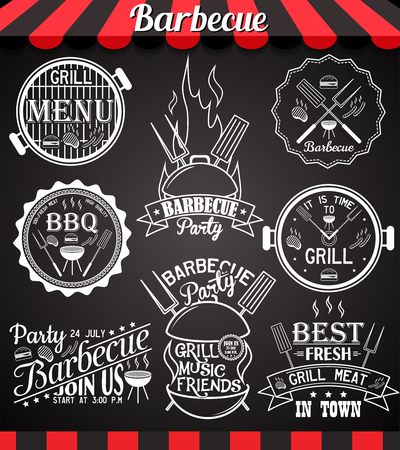blackboard background: White barbecue party collection of icons, labels, symbols and design elements on blackboard
