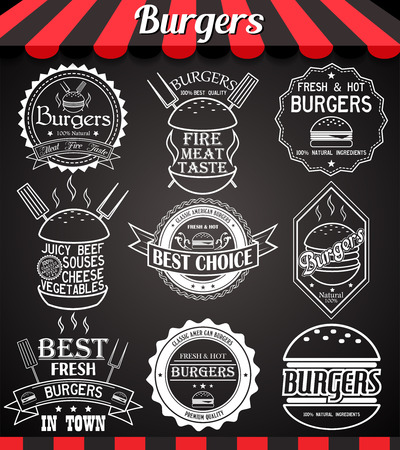cheese burger: White set burger icons, labels, symbols and badges on blackboard