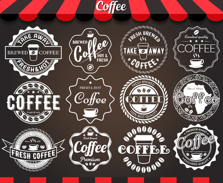 Set of round vintage retro coffee labels and badges on blackboard Vettoriali