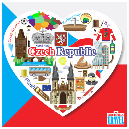 Czech Republic love. Vector icons and symbols set in form of heart 向量圖像