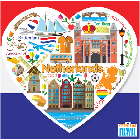 Netherlands love.Set colored flat vector icons and symbols in form of heart 일러스트
