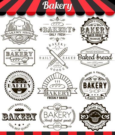 comida rica: Colección de vector de signos horneados bienes, símbolos e iconos