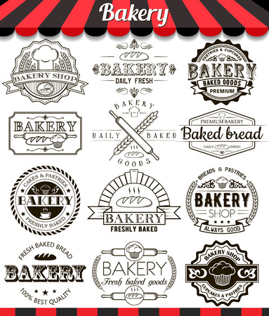 baked goods: Collection of vector baked goods signs, symbols and icons