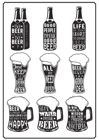 Set of different beer posters with aphorisms in retro vintage style lettering on beer glassware background