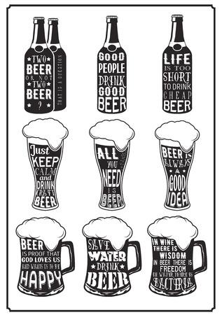 cerveza negra: Conjunto de diversos carteles de cerveza con aforismos en letras retro estilo vintage sobre fondo de la cristalería de la cerveza