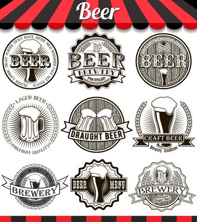 Retro set styled label of beer. Vintage craft beer brewery emblems, labels and design elements