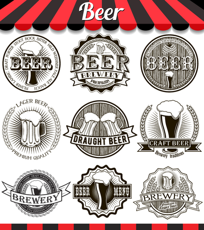 Retro set styled label of beer. Vintage craft beer brewery emblems, labels and design elements