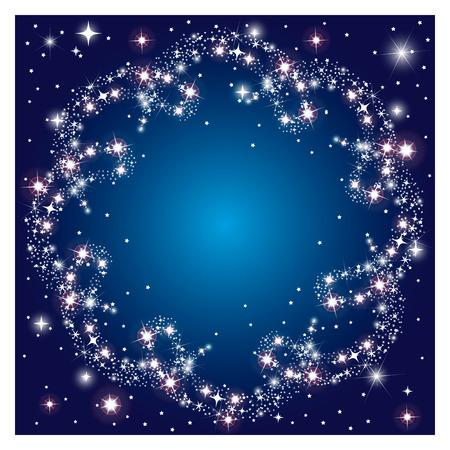 ring: Glowing round frame sparkle stars with dark background Illustration