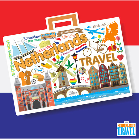 red light district: Netherlands travel. Set dutch vector icons and symbols in form of suitcase