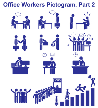 Set vector office workers pictograms. Human Business icons and symbols Vettoriali