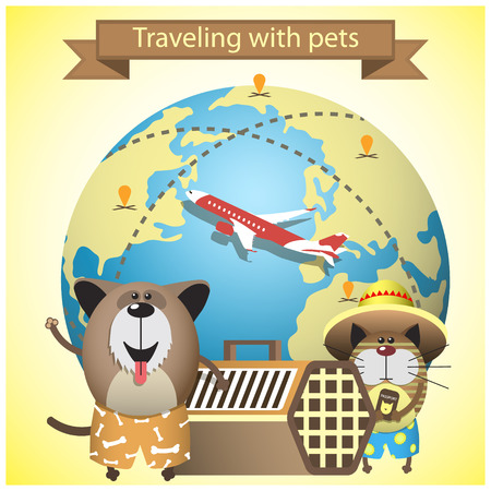 Traveling with pets on airlines concept. Vector illustration with pets, kennel and earth globe  イラスト・ベクター素材