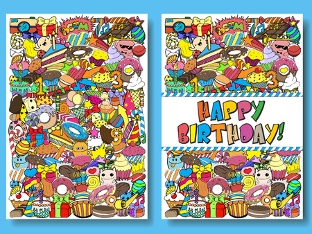 Greeting cards birthday party templates with sweets doodles background.