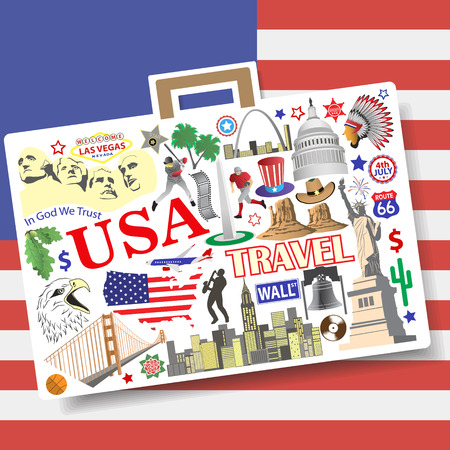 landmark: Set vector american landmarks icons and symbols in form of suitcase