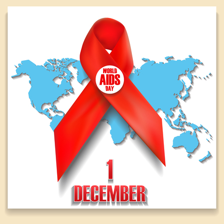 aids virus: The red ribbon World AIDS Day concept. Stop AIDS 1 December sign.