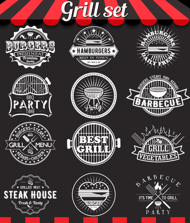 grill: Grill vintage design elements and badges set on chalkboard.Collection of barbecue vector signs, symbols and icons. Set of bbq design elements. Burgers badges stickers and labels food set on blackboard