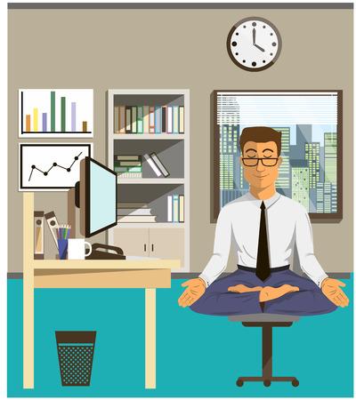 Ilustración del concepto de relax y el equilibrio trabajo. Hombre de la oficina que hace yoga para calmar la emoción estresante de la multitarea y muy ocupado trabajando. Ilustración de vector
