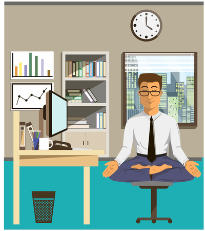 Illustration of the concept of relax and work balance. Office man doing Yoga to calm down the stressful emotion from multi-tasking and very busy working. Vectores
