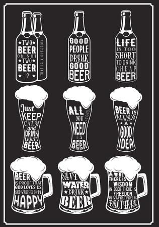 řemesla: Sada piva typografie vinobraní Citáty tisky