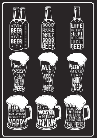 funny glasses: Set of beer typography vintage Quotes prints Illustration
