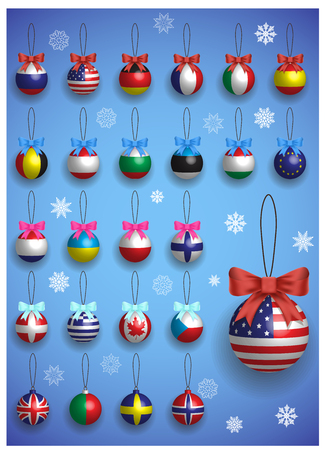 country christmas: Christmas decoration set with different International flags. Christmas realistic colorful balls hanging. Winter holiday vector illustration