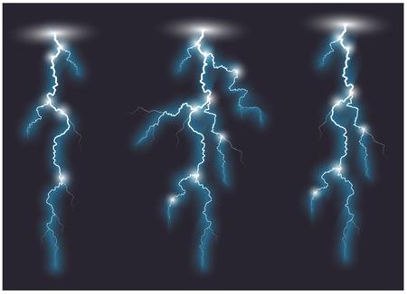 oblique: Vector blue oblique branchy lightning lines. Vector illustration.