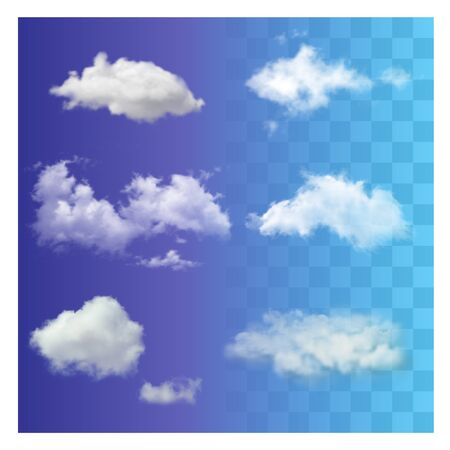 Set realistic different transparent white sky clouds.