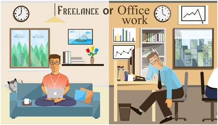 work. office: The concept of office work and the freelancing. Scenes of people working in the office. Interior office and living room. Home office vector illustration in a flat style. Workspace for Freelancer.