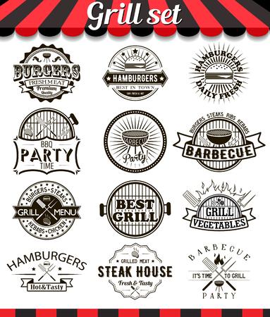 chicken roast: Elementos de diseño vintage Grill e insignias set.Collection de barbacoa vector signos, símbolos e iconos. Conjunto de elementos de diseño barbacoa. Hamburguesas de insignias y pegatinas etiquetas de los alimentos.