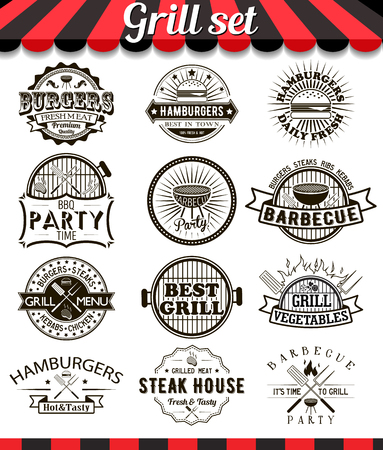 barbecue: Grill vintage design elements and badges set.Collection of barbecue vector signs, symbols and icons. Set of bbq design elements. Burgers badges stickers and labels food set.