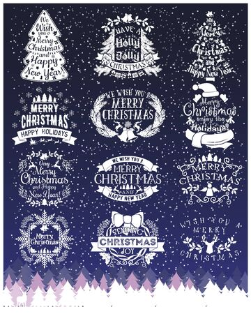 happy: Vintage Merry Christmas And Happy New Year chalk Calligraphic And Typographic signs Illustration