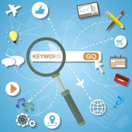 seo process: Flat design modern vector illustration icons set of analytics search information and website SEO optimization Illustration