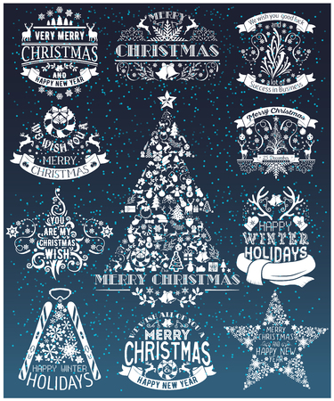 happy holidays: Vintage Merry Christmas And Happy New Year collection of calligraphic and typographic design with labels, symbols and icons elements