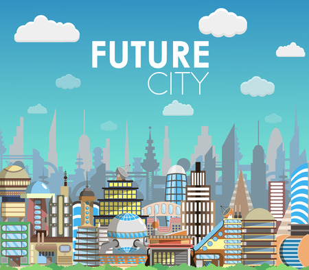 Future city landscape cartoon vector illustration. Modern building set. Architecture of the future. Flat style design Ilustração