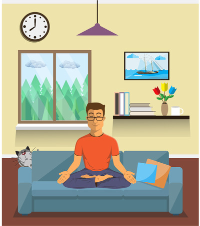 Man meditates in the yoga Lotus position in home interior.