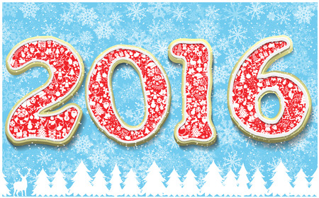 holiday food: Creative happy new year 2016 in shape of gingerbread design. Year number as cookies on snowflakes background. Vector image for new years day, christmas, winter holiday, cooking, new years eve, food.