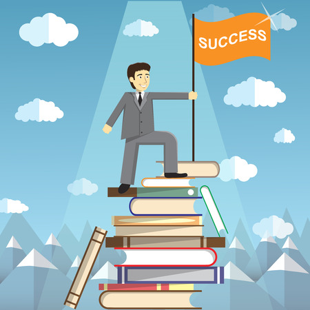 summit: Knowledge Is The Path To Success. The man on top of a mountain of books.  Conceptual web illustration for power of knowledge. Students Reaching New Heights Through Books and Learning Illustration