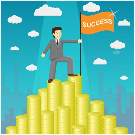path to success: Vector illustration of businessman proudly standing on the huge money staircase. Flat style business concept. Money mountain peak. Path to success concept