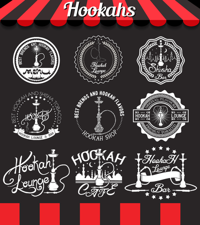 Shisha icons, labels, signs, symbols and badges on blackboard Vettoriali