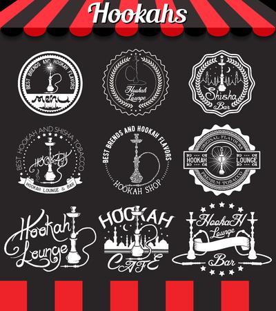 Shisha icons, labels, signs, symbols and badges on blackboard Illustration