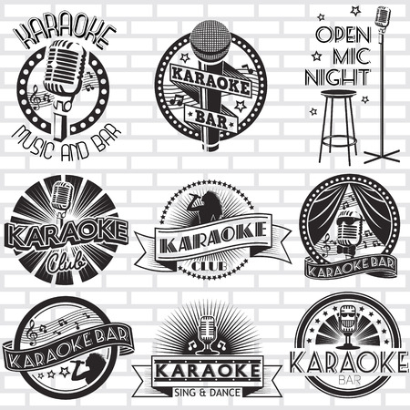 Karaoke vector labels ontwerp Stock Illustratie