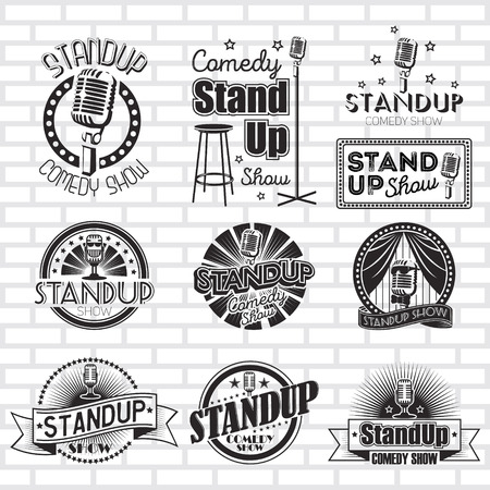Standup comedy show vector labels ontwerp