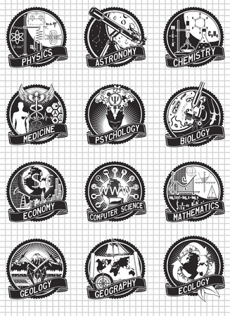 colleges: Science and education vector labels design